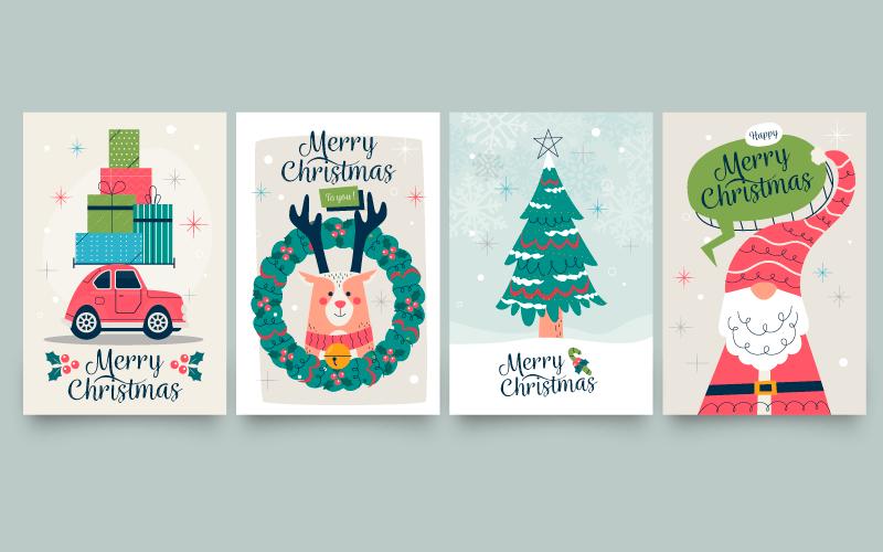 四张创意手绘风格的圣诞贺卡矢量素材(AI/EPS)