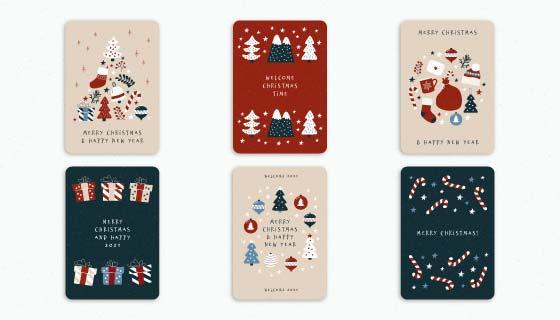 六张可爱的圣诞贺卡矢量素材(AI/EPS)