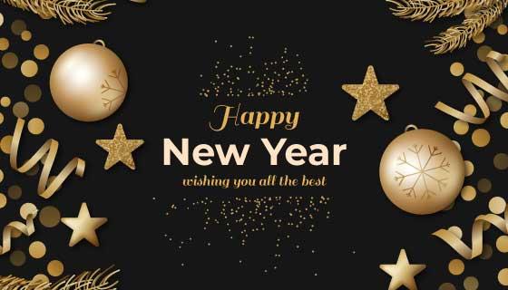 金色装饰设计新年快乐背景矢量素材(AI/EPS)