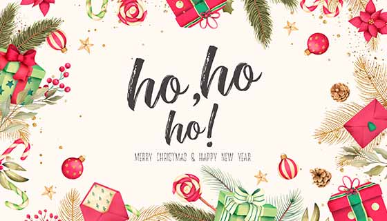 水彩圣诞元素设计圣诞节背景素材(PSD)