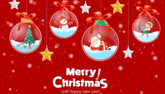 水晶球设计圣诞节贺卡矢量素材(EPS)