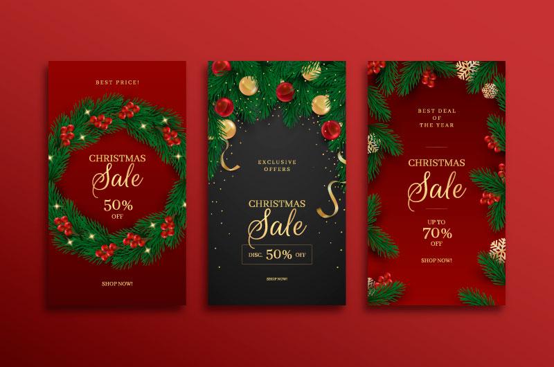 三张圣诞节促销宣传册矢量素材(AI/EPS)