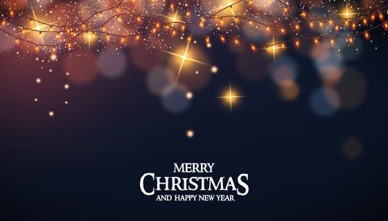 逼真的小灯泡设计圣诞节背景矢量素材(EPS)