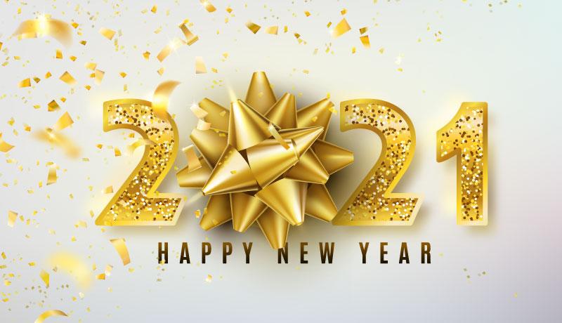 金色纸屑和数字设计2021新年快乐矢量素材(EPS)