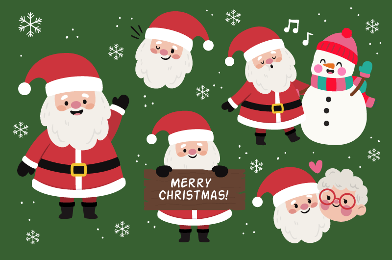 可爱的圣诞老人和雪人矢量素材(AI/EPS/免扣PNG)