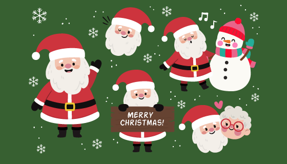 可爱的圣诞老人和雪人矢量素材(AI/EPS/PNG)