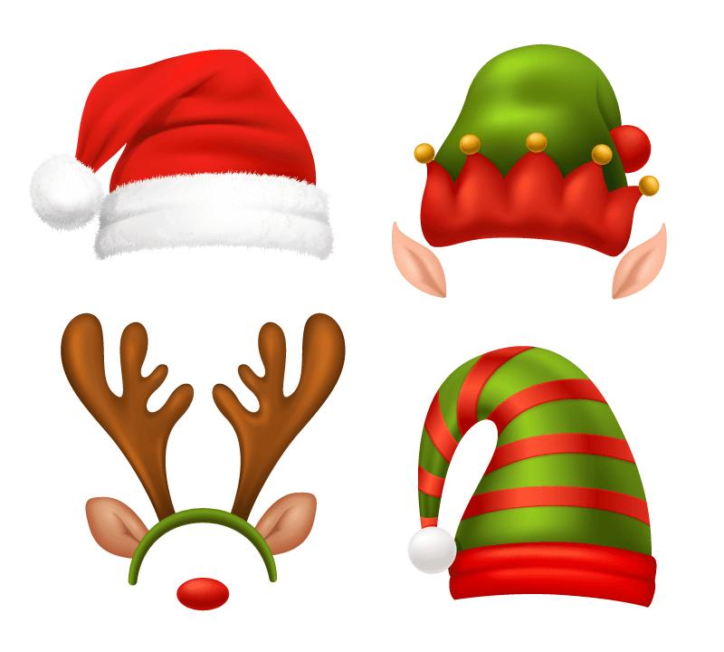 四顶不同的圣诞帽矢量素材(EPS)