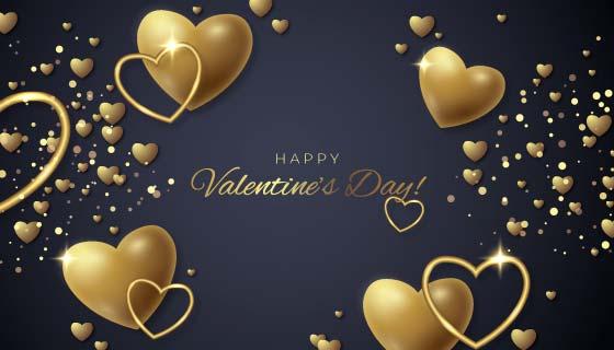 金色爱心设计情人节背景矢量素材(AI/EPS)