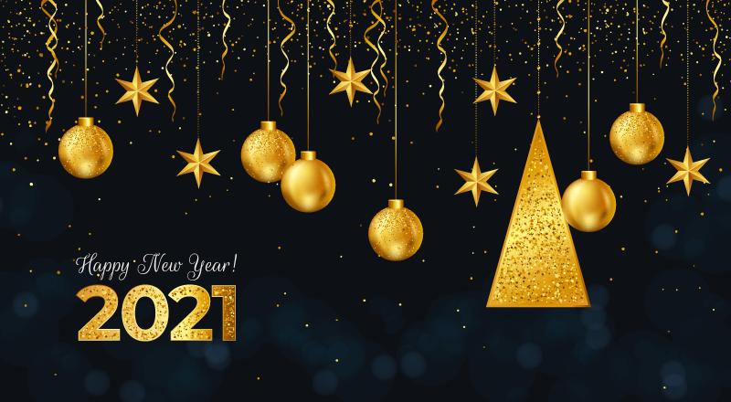 金色吊坠设计2021新年快乐背景矢量素材(AI/EPS)