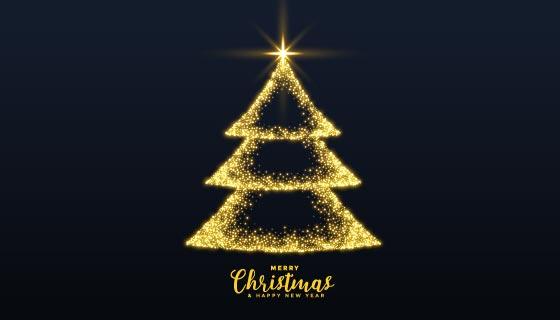 金光闪闪的圣诞树矢量素材(EPS)
