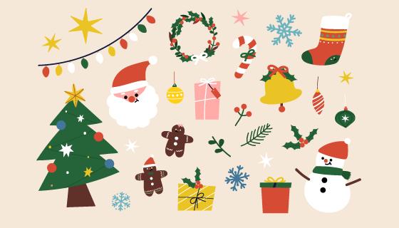 扁平可爱的圣诞元素矢量素材(EPS/PNG)