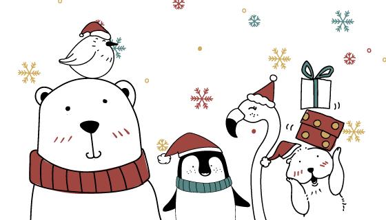 可爱北极熊等动物设计圣诞贺卡矢量素材(EPS)