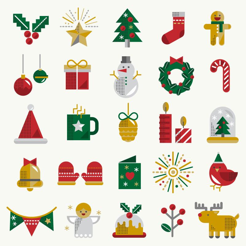 25个圣诞节图标矢量素材(EPS/免扣PNG)