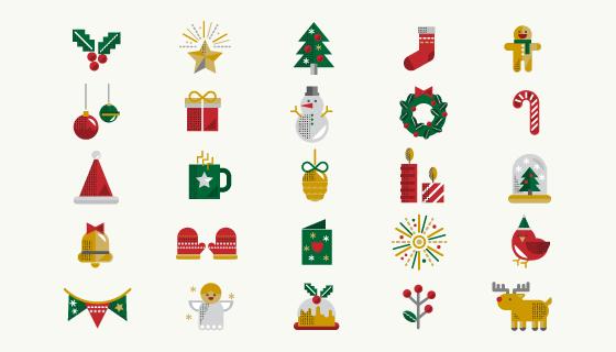 25个圣诞节图标矢量素材(EPS/PNG)