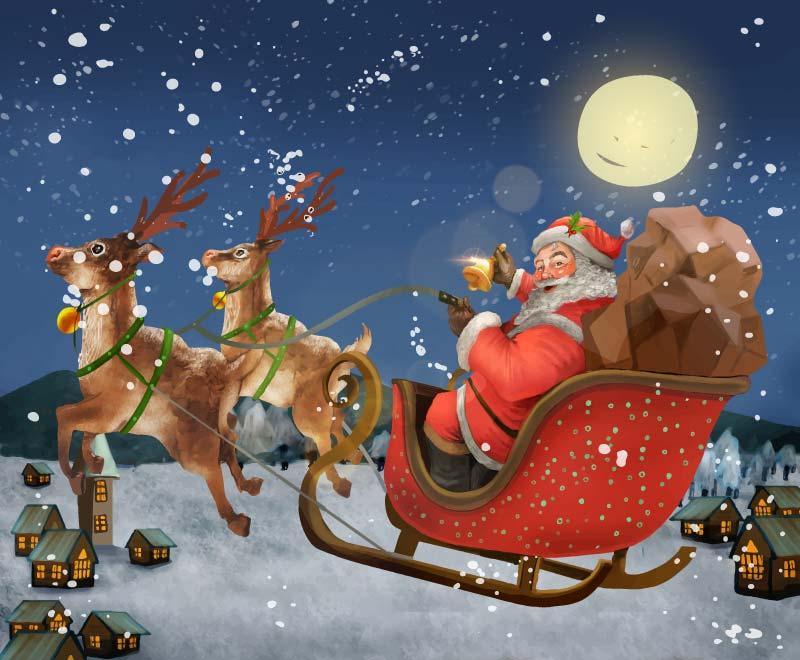 骑着雪橇送礼物的圣诞老人矢量素材(EPS)