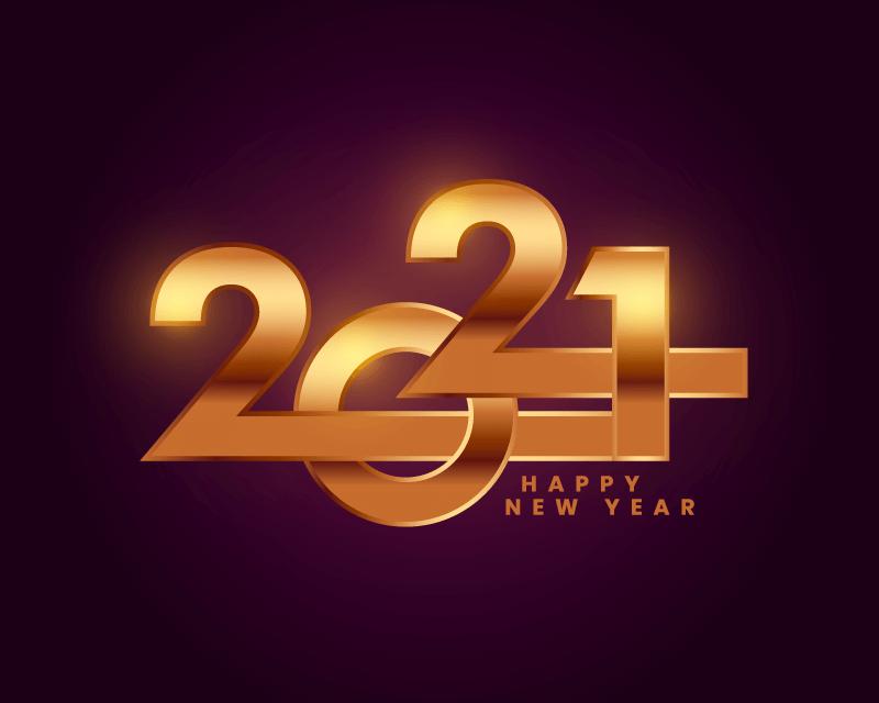 创意金色数字2021新年快乐矢量素材(EPS)