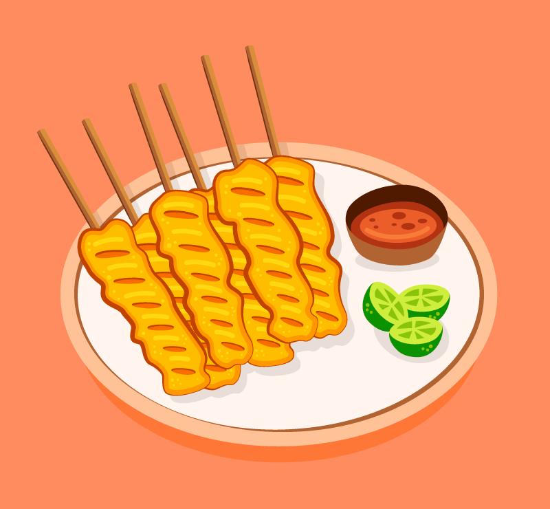 手绘美味烤肉矢量素材(AI/EPS)