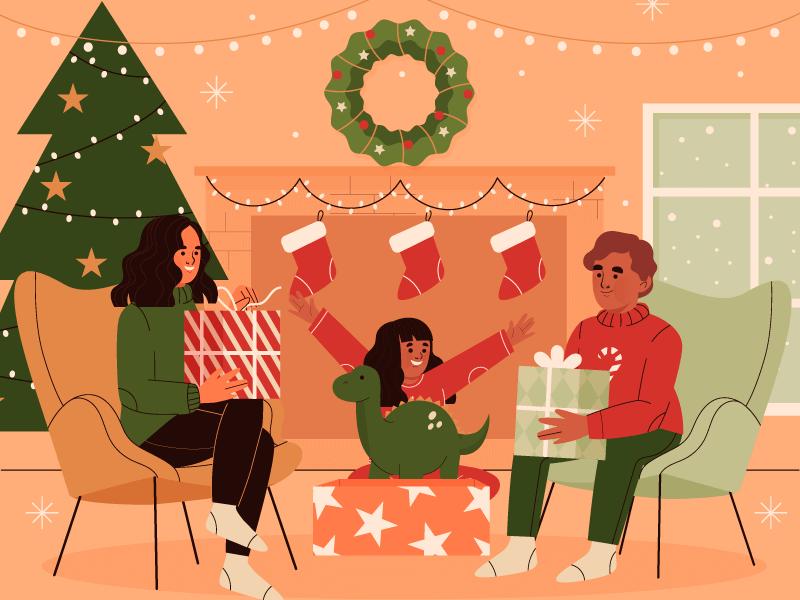 一家人开心过圣诞节矢量素材(AI/EPS)