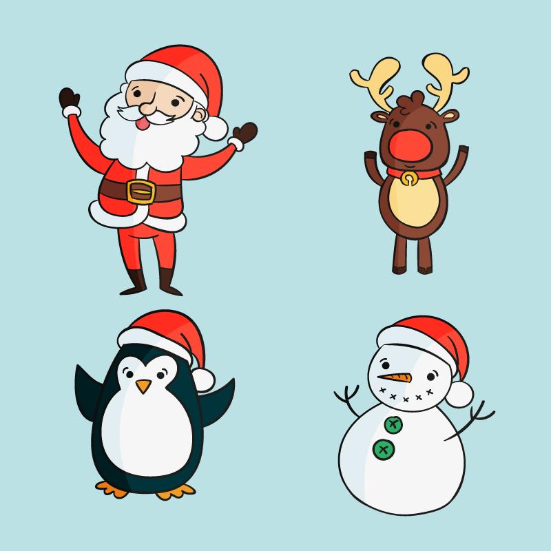 四个手绘风格圣诞人物矢量素材(AI/EPS/免扣PNG)