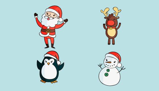 四个手绘风格圣诞人物矢量素材(AI/EPS/PNG)