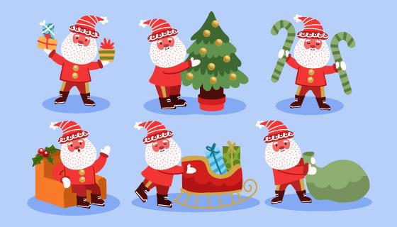 正在准备圣诞节的圣诞老人矢量素材(AI/EPS)