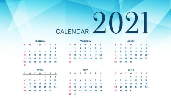 蓝色多边形2021年日历矢量素材(EPS)