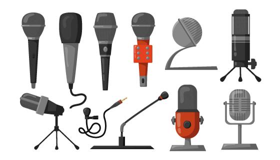 各种各样的话筒麦克风矢量素材(EPS/PNG)