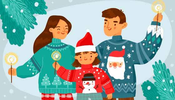 一家人快乐过圣诞矢量素材(AI/EPS)