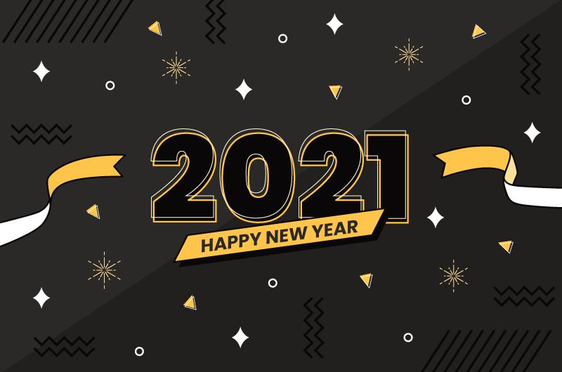 简约图案设计2021新年快乐矢量素材(AI/EPS)