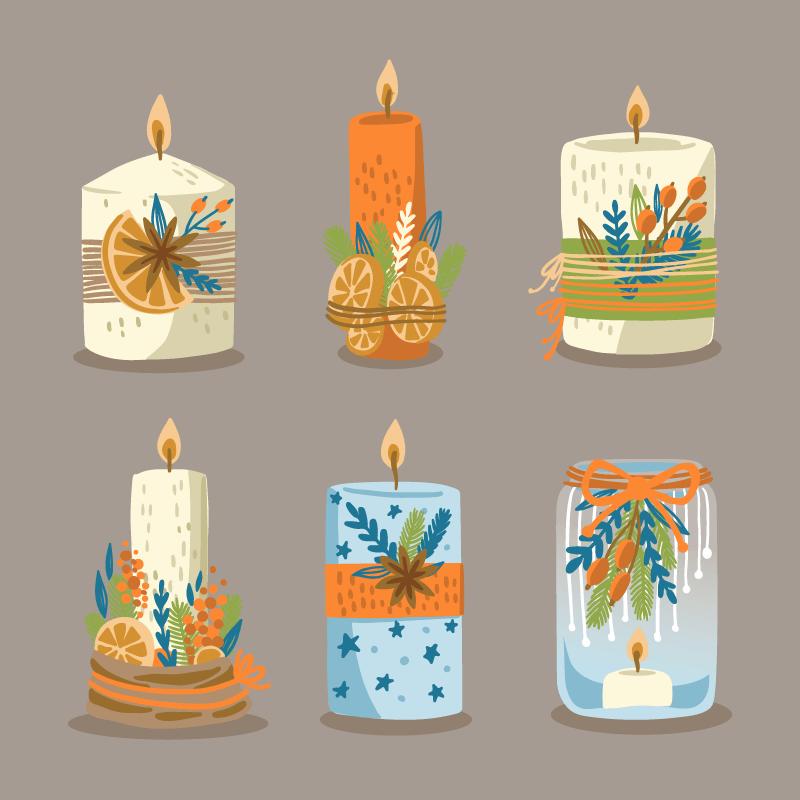 六支创意圣诞蜡烛矢量素材(AI/EPS/免扣PNG)
