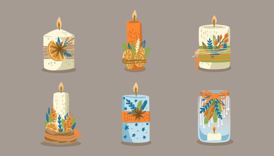 六支创意圣诞蜡烛矢量素材(AI/EPS/PNG)