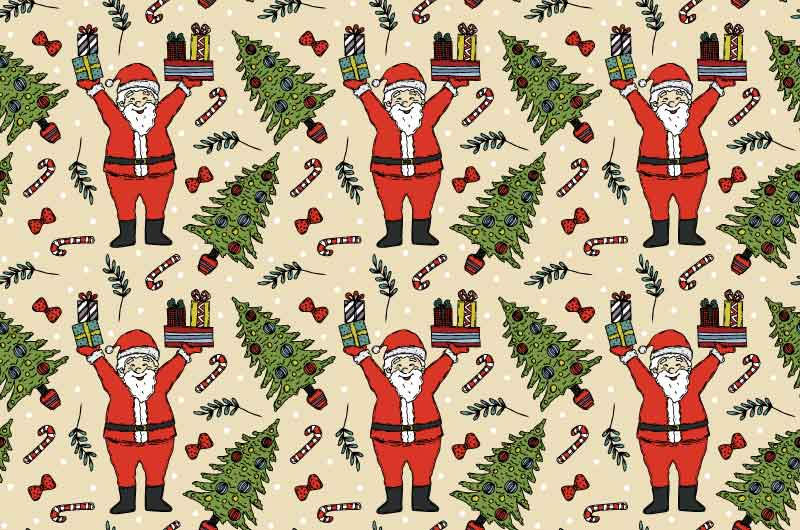 举着礼物的圣诞老人无缝背景矢量素材(AI/EPS)