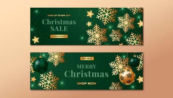 金色雪花设计圣诞节促销banner矢量素材(AI/EPS)