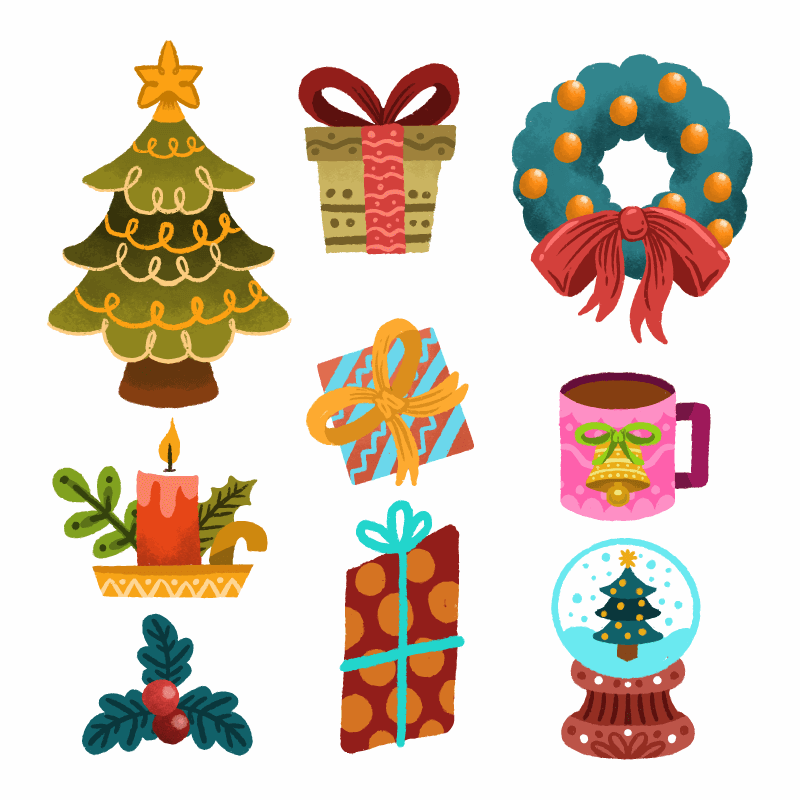 九个手绘风格的圣诞元素矢量素材(AI/EPS/免扣PNG)