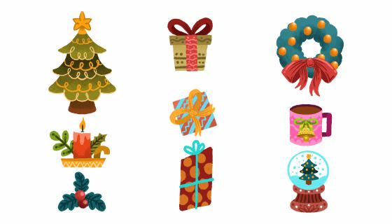 九个手绘风格的圣诞元素矢量素材(AI/EPS/PNG)