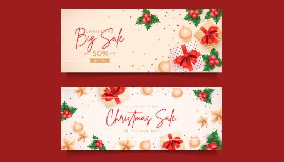 礼物和装饰品设计圣诞促销banner矢量素材(AI/EPS)
