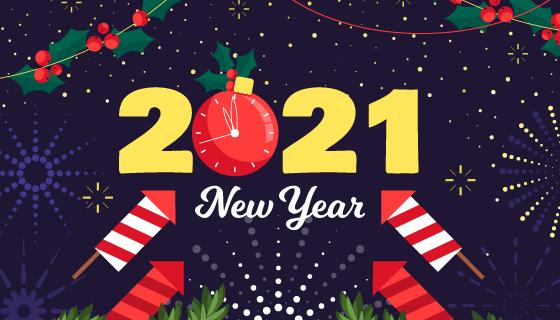 各种装饰组成的2021新年快乐背景矢量素材(AI/EPS)