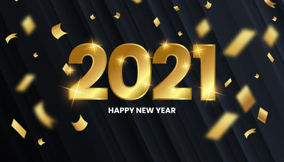 金色纸屑设计2021新年快乐背景矢量素材(EPS)