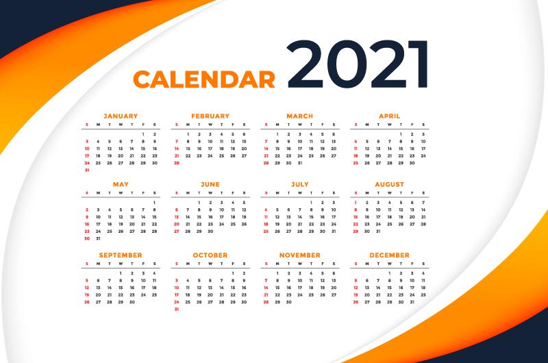 现代时尚的2021年日历矢量素材(EPS)