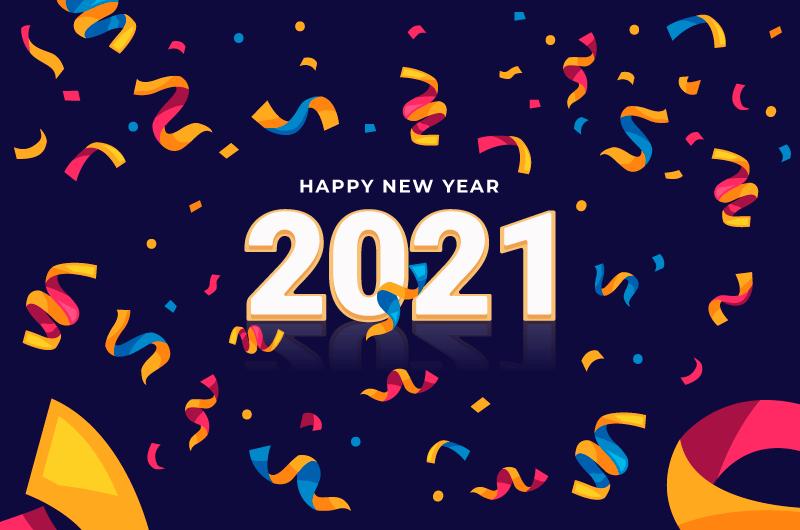 五彩纸屑设计2021新年快乐背景矢量素材(AI/EPS)