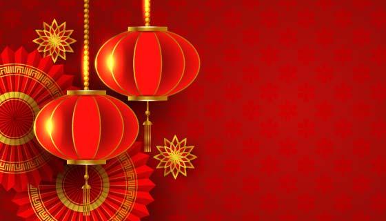 火红灯笼设计春节背景矢量素材(EPS)