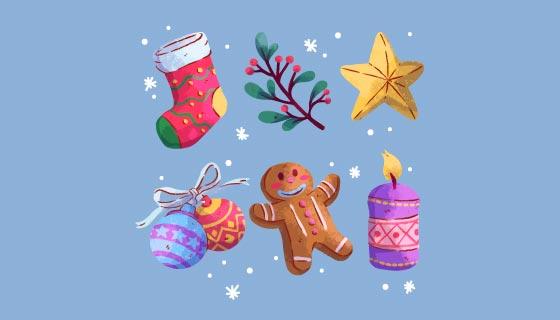 六个水彩风格的圣诞元素矢量素材(AI/EPS/PNG)