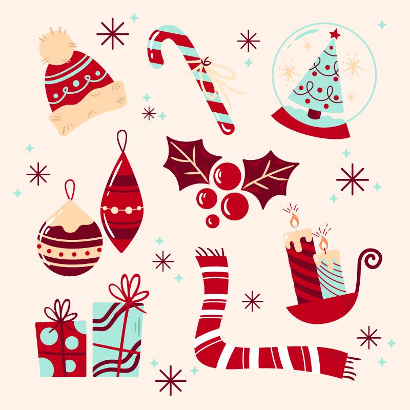 八个手绘风格的圣诞元素矢量素材(AI/EPS/免扣PNG)