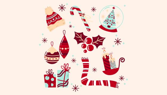 八个手绘风格的圣诞元素矢量素材(AI/EPS/PNG)
