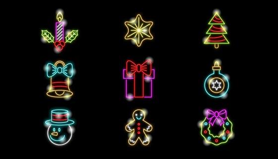 九个霓虹灯风格圣诞元素矢量素材(AI/EPS)