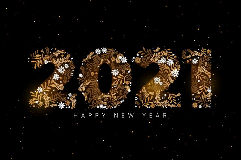 创意数字设计2021新年快乐背景矢量素材(EPS)
