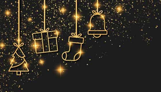 金色吊饰设计圣诞快乐背景矢量素材(EPS)