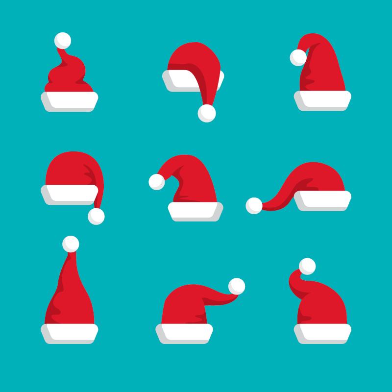 九个可爱的圣诞老人帽矢量素材(AI/EPS/免扣PNG)