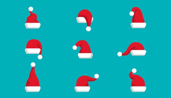 九个可爱的圣诞老人帽矢量素材(AI/EPS/PNG)