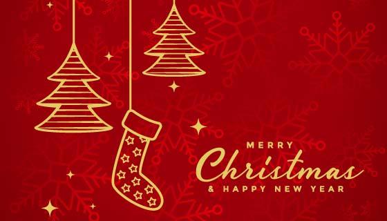 金色元素设计的红色圣诞节背景矢量素材(EPS)